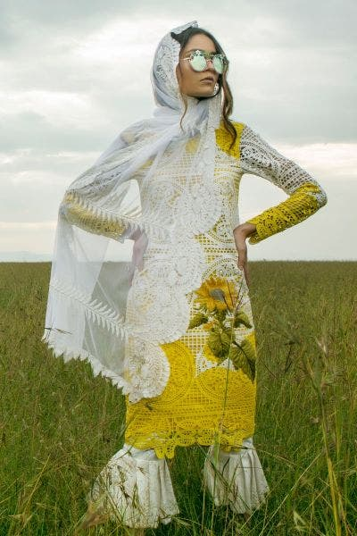 Yellow Embroidered Lawn By Sana Safinaz