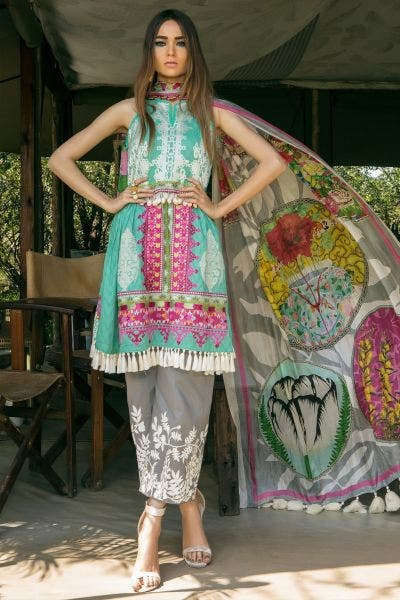 Blue embroidered Lawn By Sana Safinaz