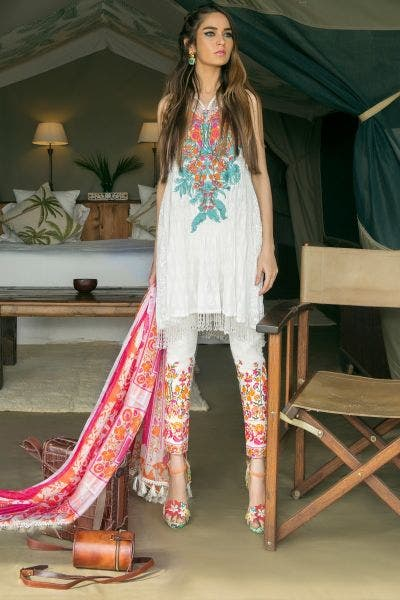 Blue Floral Embroidered Lawn By Sana Safinaz